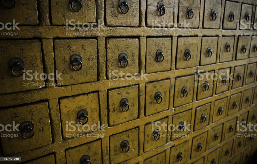 Herbal Medicine Drawers stock photo