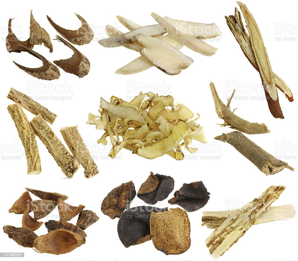 Herbal medicine : Dried Chinese herbs isolated on white background royalty-free stock photo