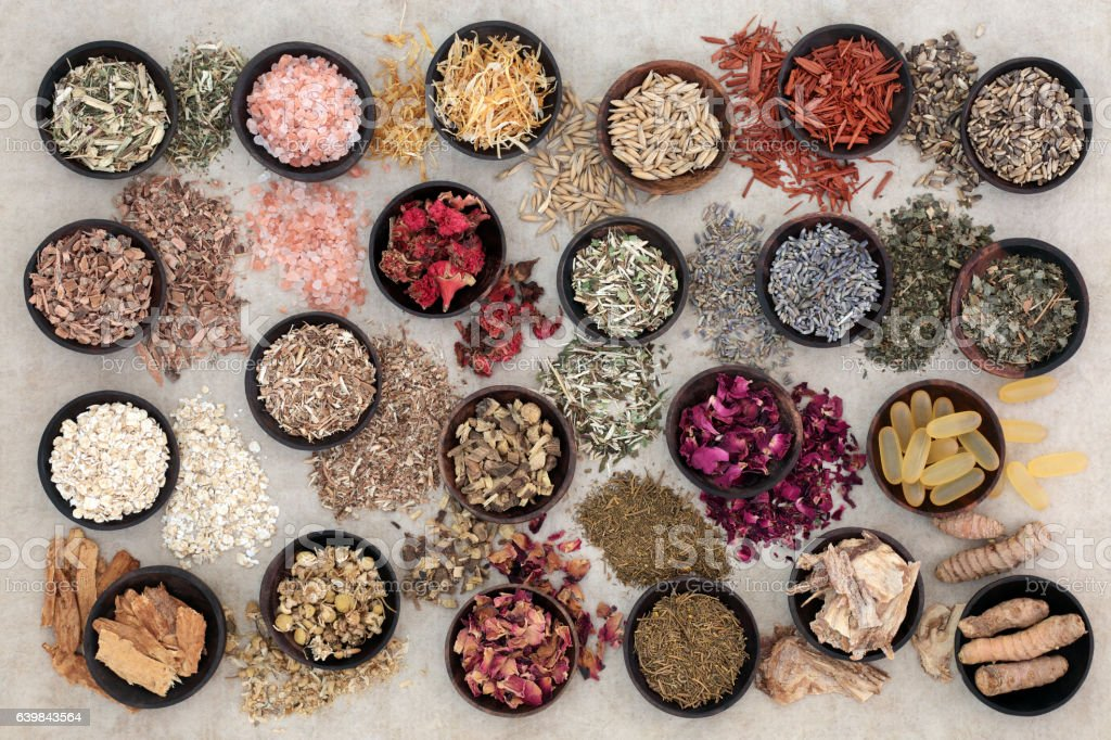 Herbal Medicine for Skin Disorders stock photo
