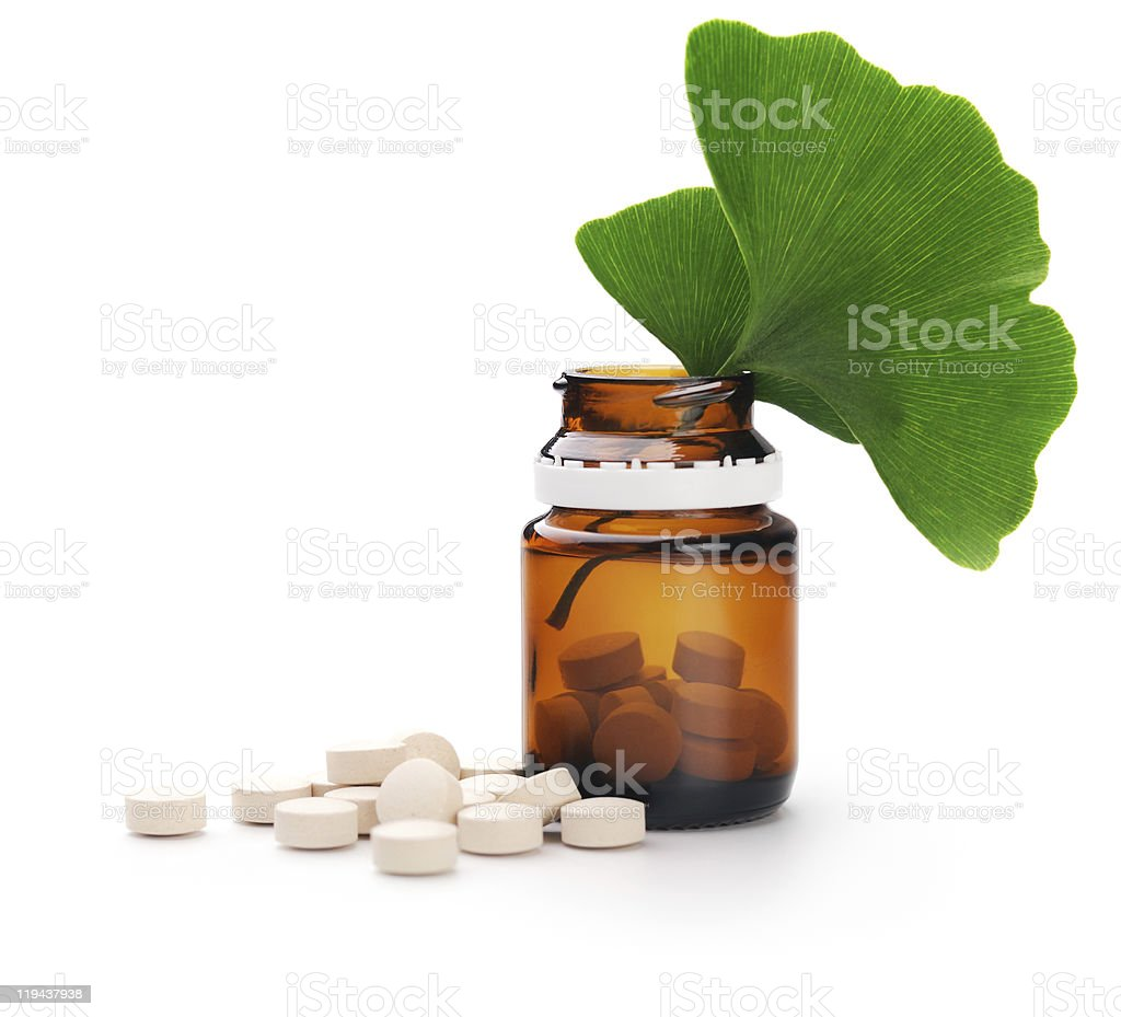 Herbal medicine. Ginkgo Biloba royalty-free stock photo