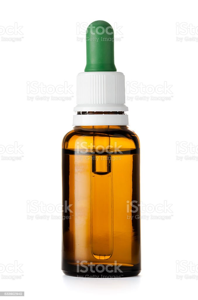 Herbal medicine or aromatherapy dropper bottle isolated on white background stock photo