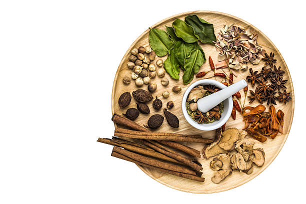 Herbal medicine A photo of Herbal medicine in wood dish on white isolate background with space for text chinese herbal medicine stock pictures, royalty-free photos & images