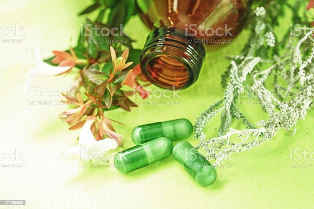 Alternative medicine on green pills on green background