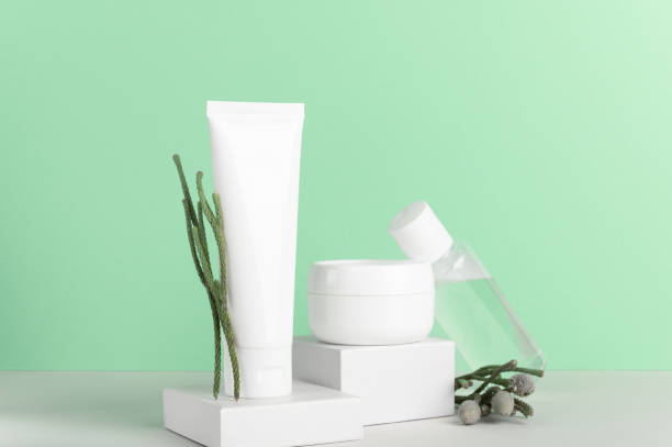Herbal natural cosmetics white plastic unbranded bottles composition. Blank skincare products containers on pastel green background. Hand cream, facial lotion, skin moisturizer with plant branches. stock photo