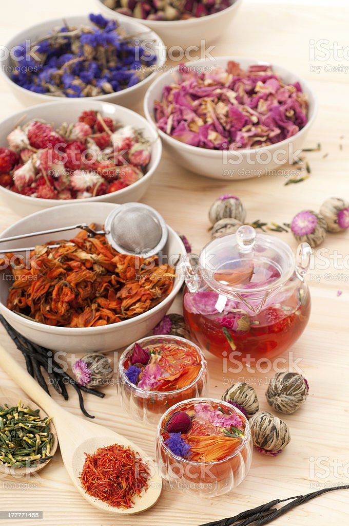 Herbal natural floral tea infusion with dry flowers royalty-free stock photo