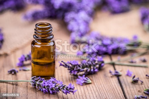 istock Herbal oil and lavender flowers 585048326