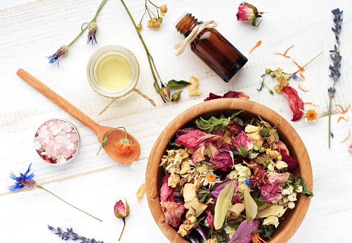 Herbal skincare ingredient preparation background