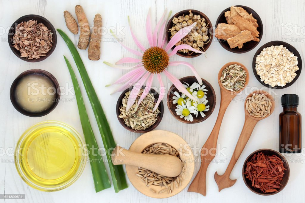 Herbal Skincare with Healing Ingredients stock photo