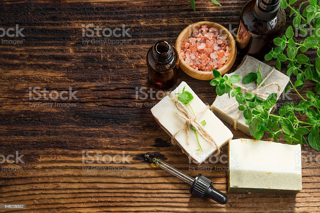 Herbal spa treatment with oil, natural soap stock photo