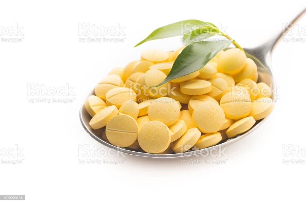 Ervas colher de comprimidos. foto royalty-free