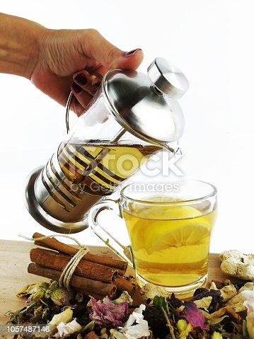 istock Herbal tea and healthy life 1057487146