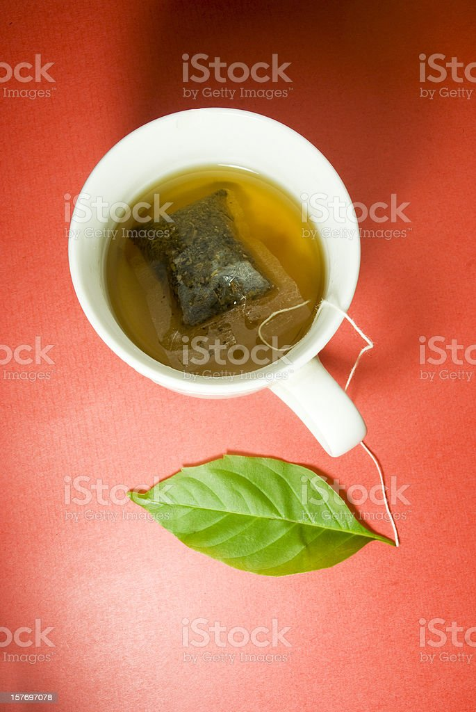 herbal tea bag and leaf concept royalty-free stock photo