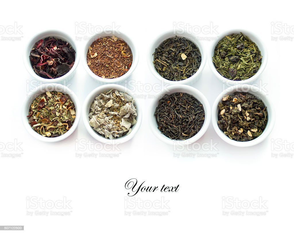 Herbal tea collection. Isolated on white stock photo