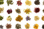 Herbal tea flowers collection on white background flat lay pattern
