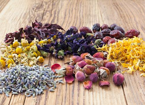 Herbal Tea Flowers on wooden background