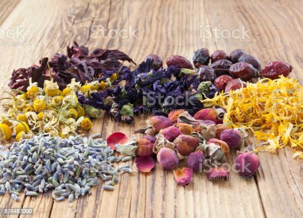 Herbal tea flowers on wooden background picture id874487090?b=1&k=6&m=874487090&s=612x612&h=ujld0muswagf70e1xdixrg3cr3ec0jtqdtiriowwdz8=