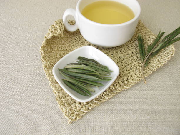 Herbal tea from olive leaves stock photo