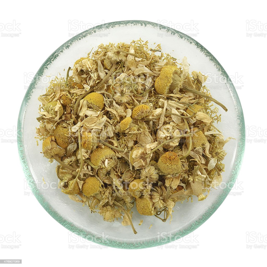 Herbal tea, heap of camomile flowers. royalty-free stock photo