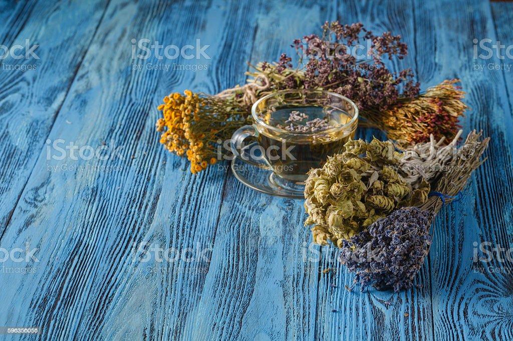 Herbal tea. Herbs and flowers, herbal medicine. royalty-free stock photo