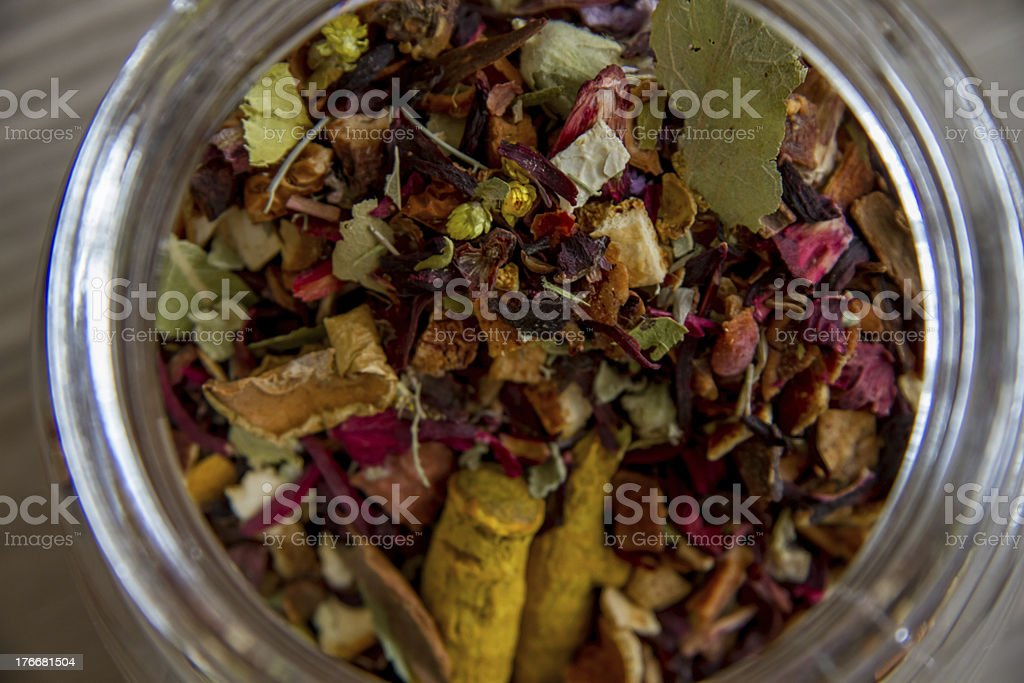 Herbal Tea Ingredients Like Ginger and Cinnamon royalty-free stock photo