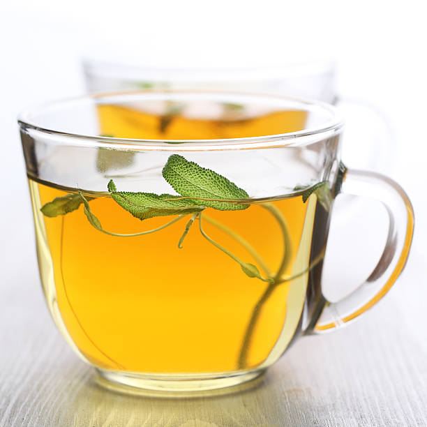 Herbal tea leaf for glass cup- Healthy Eating stock photo