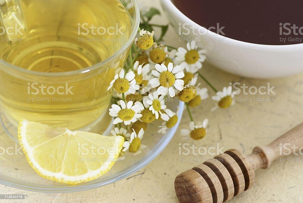 Herbal tea, lemon and honey royalty-free stock photo