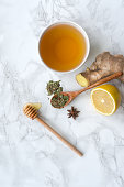 istock Herbal tea on marble table. Top view. 1066088282