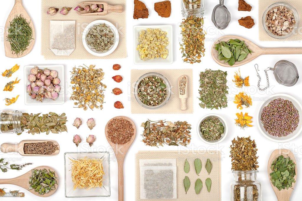 herbal tea on white background stock photo