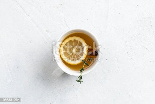 Herbal tea on white background. Directly above.