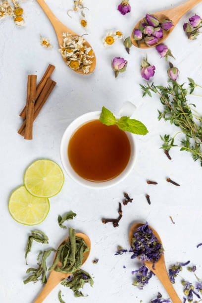 herbal tea - tea leaf stock photos and pictures