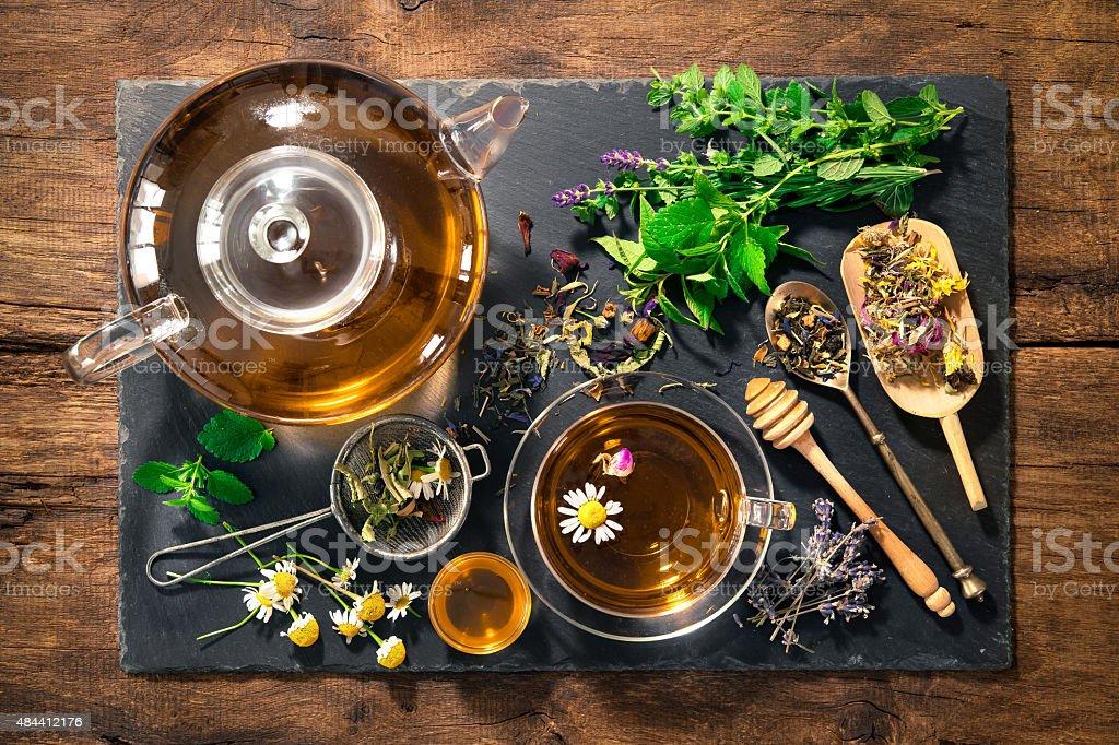 Herbal tea with honey stock photo