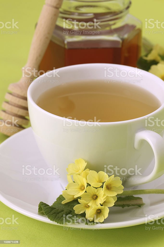 Herbal tea with primroses and honey royalty-free stock photo