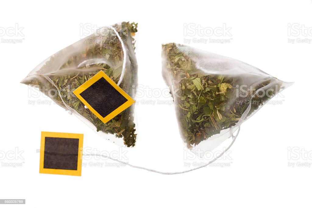 Herbal teabag on white stock photo