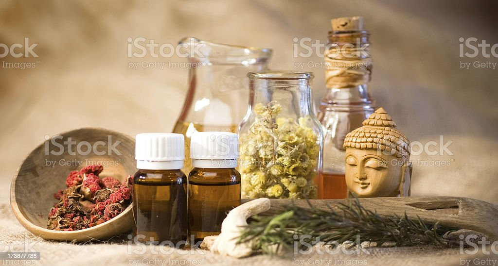 Herbal treatment stock photo