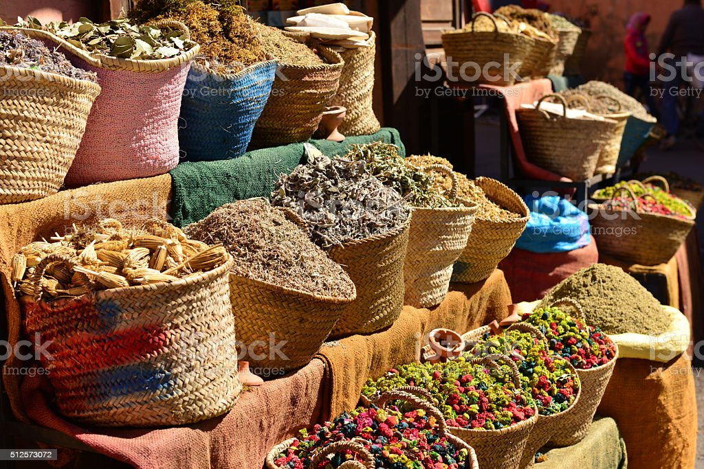 Herbalist, Marrakech, Morocco, Africa. stock photo