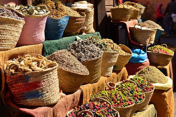 Herbalist, Marrakech, Morocco, Africa. stock photo