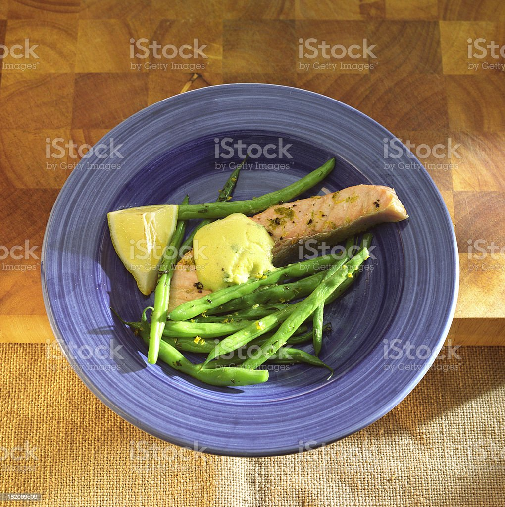 Herbed Salmon with Green Beans royalty-free stock photo
