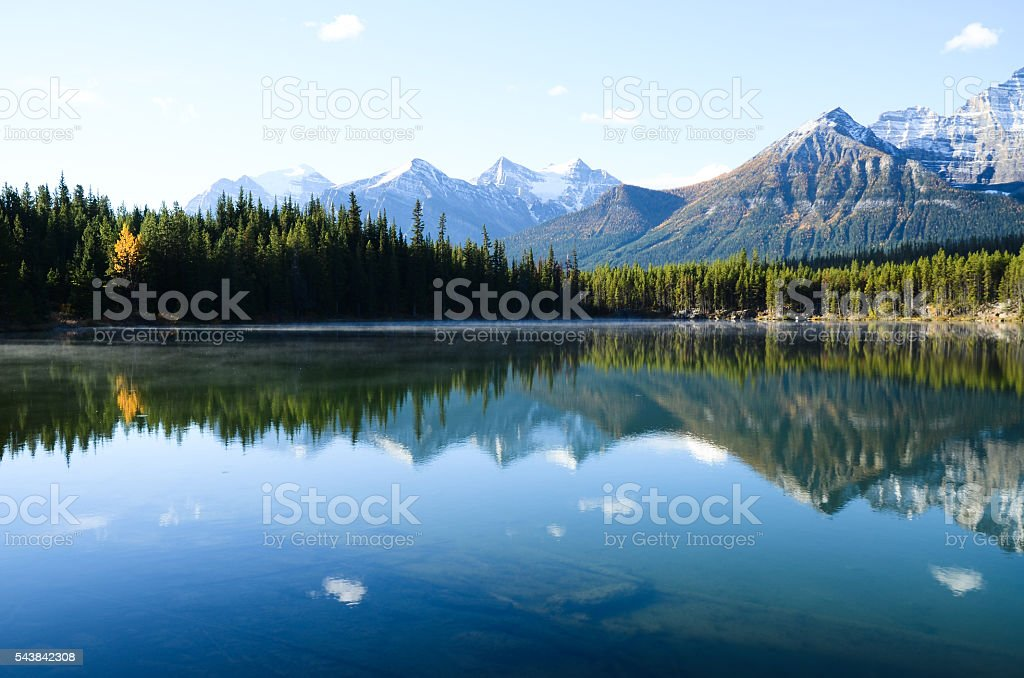 Herbert Lake in Autumn Morning, Canadian Rockies (Canada) stock photo