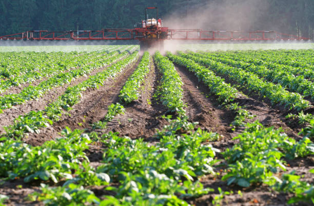 herbicide application of herbicide on a field herbicide stock pictures, royalty-free photos & images