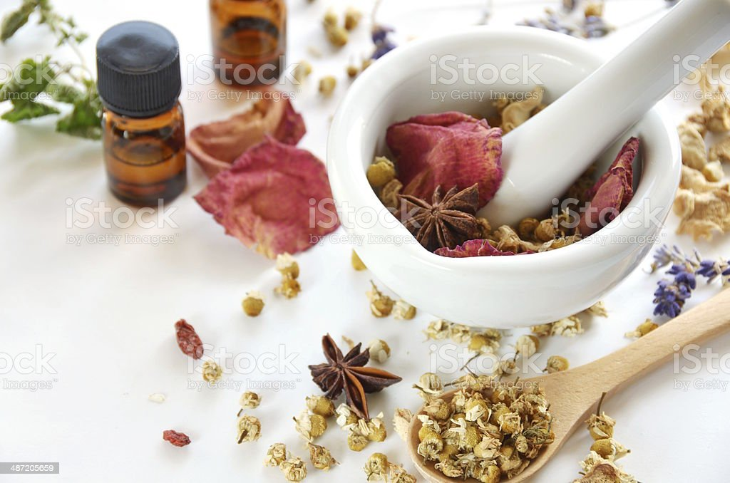 herbs and essential oils stock photo