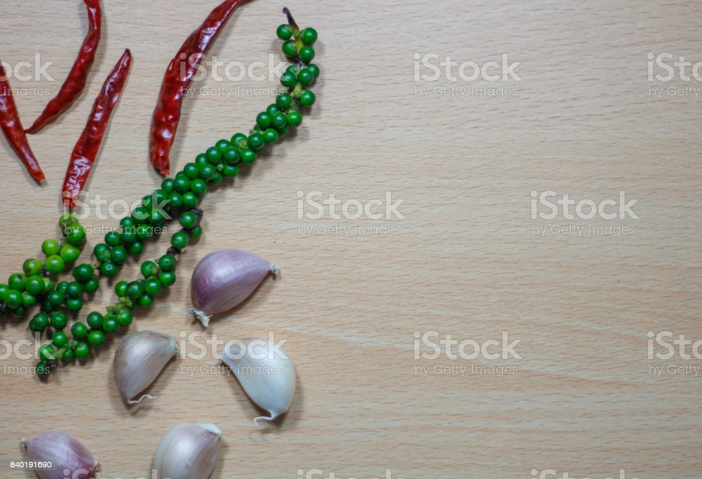 Herbs and spices for cooking. Seasoning ingredients for cooking. Top view with copyspace stock photo