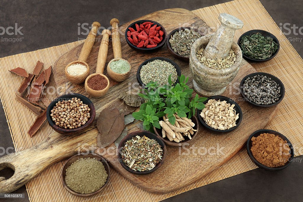 Herbs and Spices for Mens Health stock photo