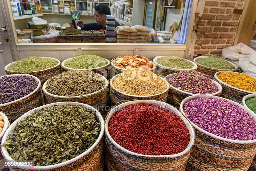 Herbs And Spices In Grand Bazaar In Tabriz East Azerbaijan Province Iran Stock Photo & More Pictures of Asia