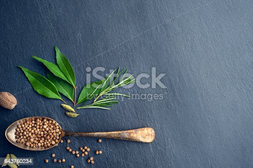 Herbs and spices on slate. High angle view with salt; pepper and a variety of ingredients with spoons