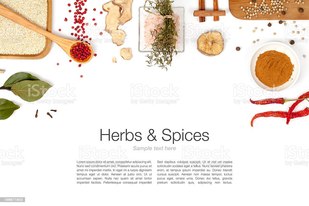 herbs and spices on white background stock photo