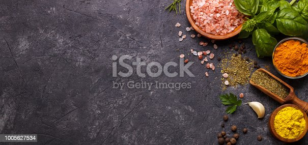 istock Herbs and spices over black 1005627534