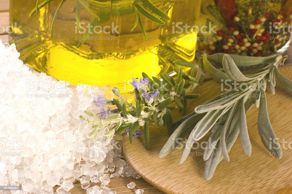 herbs and spices. rosemary, lavender, salt, oil royalty-free stock photo