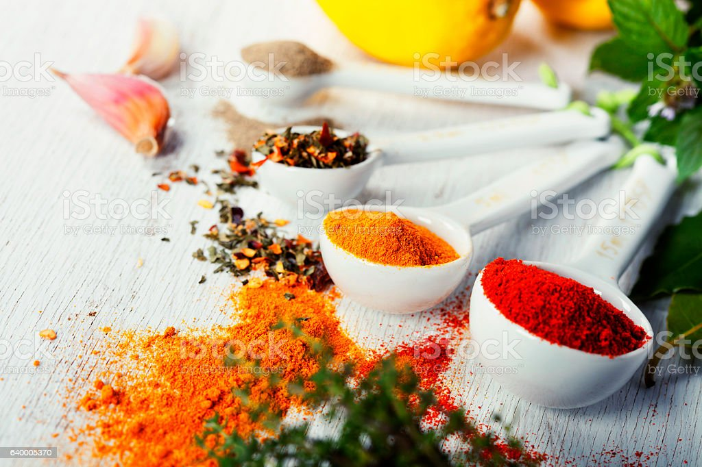 Herbs and spices selection, close up stock photo