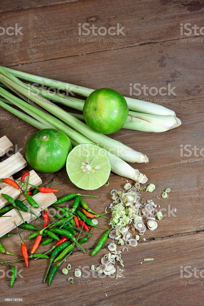 Herbs and spices Thai Tom Yam soup stock photo