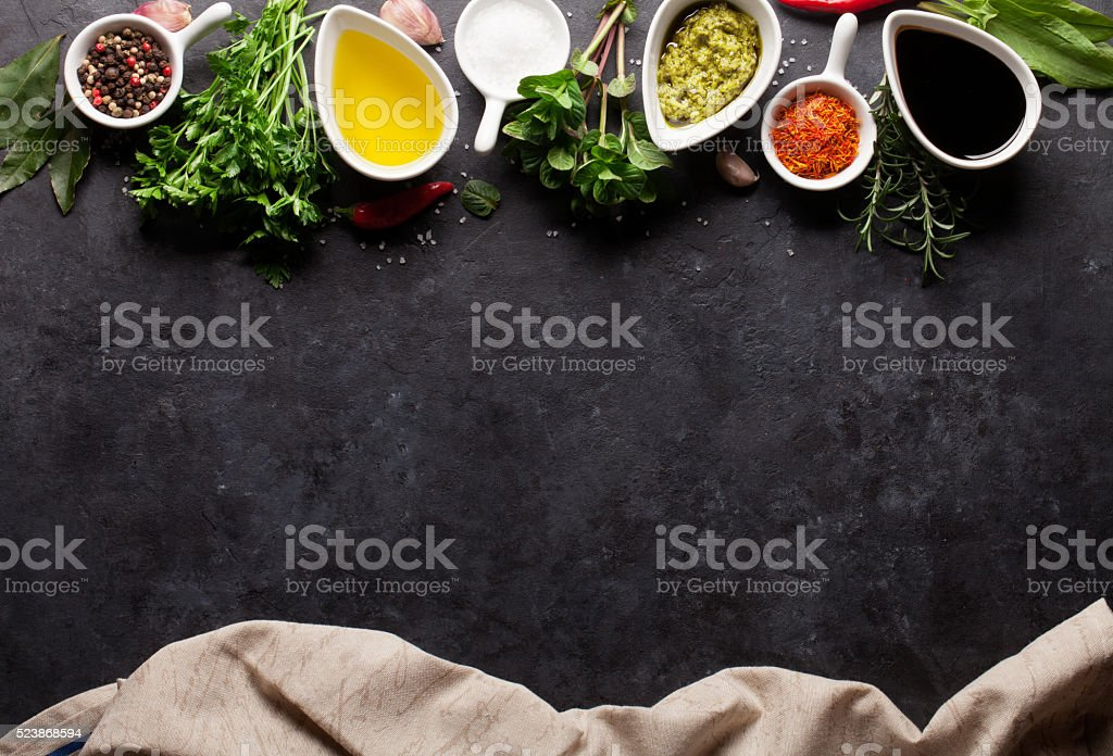 Herbs, condiments and spices stock photo